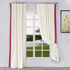 FELIX Velvet Curtain Drapery with Color Border Custom Sold Per Pair