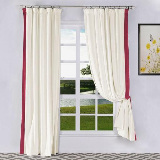 FELIX Velvet Curtain Drapery with Color Border Custom Sold Per Pair