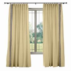 AMARA Polyester Linen Curtain Drapery With Decorative Trim Custom Sold Per Pair