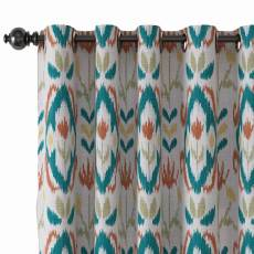 Ethnic Print Polyester Linen Curtain Drapery with Privacy Blackout Thermal Lining ANGELIA
