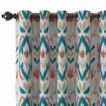 Ethnic Print Polyester Linen Curtain Drapery ANGELIA