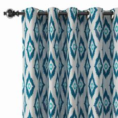 Abstract Print Polyester Linen Curtain Drapery with Privacy Blackout Thermal Lining BRENDA