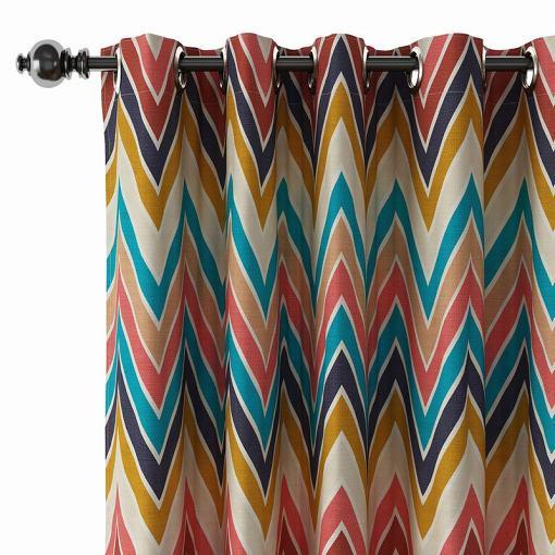 Abstract Print Polyester Linen Curtain Drapery BARBARA