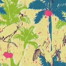 Tropical Print Polyester Linen Curtain Drapery BONNIE