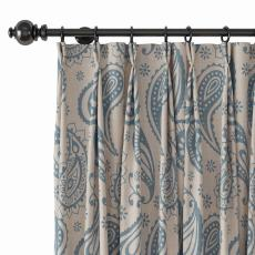 Paisley Polyester Linen Curtain Drapery with Privacy Blackout Thermal Lining AMBER