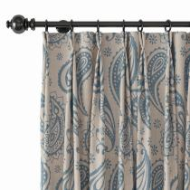 Paisley Polyester Linen Curtain Drapery AMBER