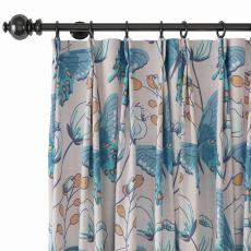Nature Print Polyester Linen Curtain Drapery with Privacy Blackout Thermal Lining ALICE