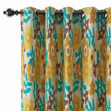 Floral Print Polyester Linen Curtain Drapery with Privacy Blackout Thermal Lining BECKY