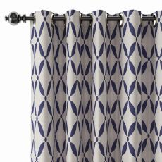 Abstract Print Polyester Linen Curtain Drapery with Privacy Blackout Thermal Lining BLANCHE