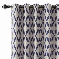 Abstract Print Polyester Linen Curtain Drapery BLANCHE