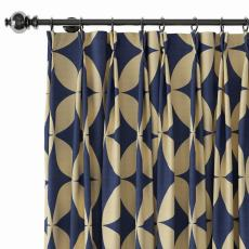 Geometric Print Polyester Linen Curtain Drapery with Privacy Blackout Thermal Lining BEATA