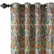 Paisley Print Polyester Linen Curtain Drapery with Privacy Blackout Thermal Lining ABBY