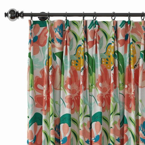 Floral Print Polyester Linen Curtain Drapery BRIANNA