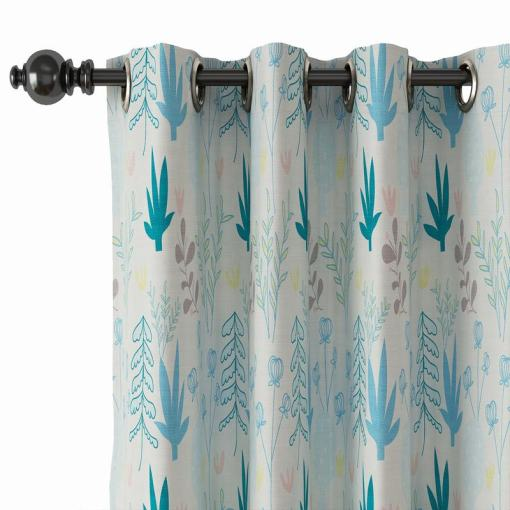 Floral Print Polyester Linen Curtain Drapery ALINA