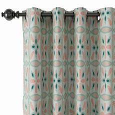 Geometric Print Polyester Linen Curtain Drapery with Privacy Blackout Thermal Lining ADELINE