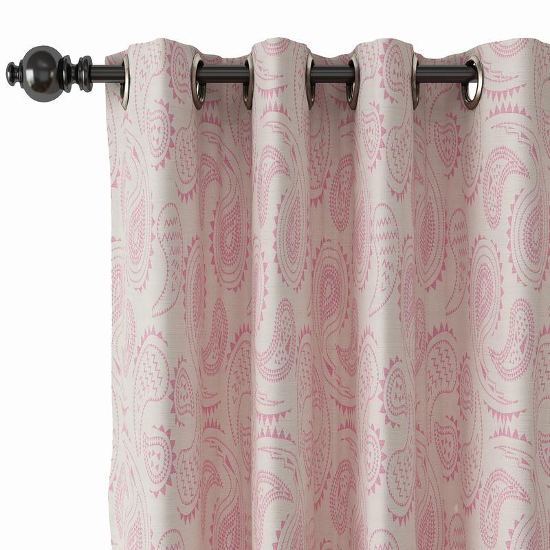 Paisley Print Polyester Linen Curtain Drapery with Privacy Blackout Thermal Lining AUDREY