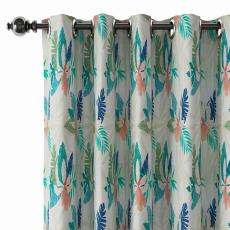 Tropical Print Polyester Linen Curtain Drapery BRITNEY