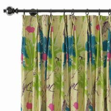 Tropical Print Polyester Linen Curtain Drapery with Privacy Blackout Thermal Lining BONNIE