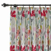 Floral Print Polyester Linen Curtain Drapery BRENT