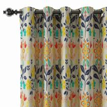 Floral Print Polyester Linen Curtain Drapery BENSON