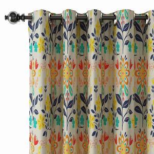 Floral Print Polyester Linen Curtain Drapery BENSON