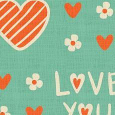 Love Print Polyester Linen Curtain Drapery CASPAR