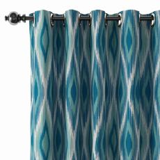 Geometric Print Polyester Linen Curtain Drapery with Privacy Blackout Thermal Lining CLIFF