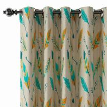 Nature Print Polyester Linen Curtain Drapery CHRISTIAN
