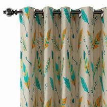Nature Print Polyester Linen Curtain Drapery CHRISTIAN