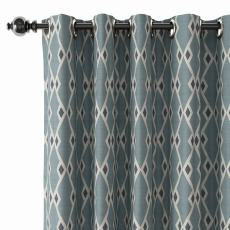 Geometric Print Polyester Linen Curtain Drapery with Privacy Blackout Thermal Lining COLE