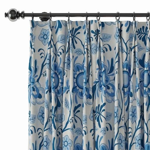 Floral Print Polyester Linen Curtain Drapery BILLY