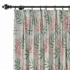 Nature Print Polyester Linen Curtain Drapery with Privacy Blackout Thermal Lining CHENEY