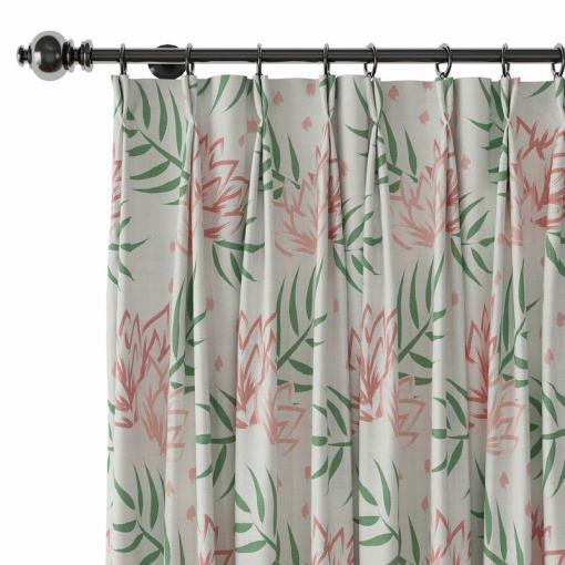 Nature Print Polyester Linen Curtain Drapery CHENEY