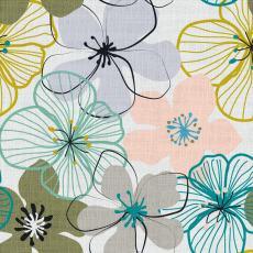 Floral Print Polyester Linen Curtain Drapery BRAD