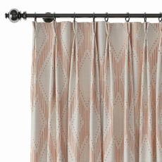 Geometric Print Polyester Linen Curtain Drapery with Privacy Blackout Thermal Lining CAROL