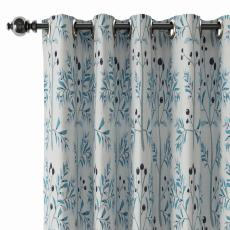 Floral Print Polyester Linen Curtain Drapery with Privacy Blackout Thermal Lining CASSANDRA