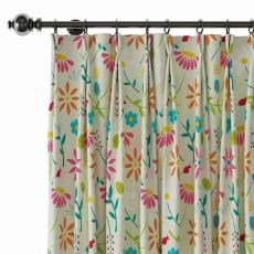 Floral Print Polyester Linen Curtain Drapery with Privacy Blackout Thermal Lining CASSIE