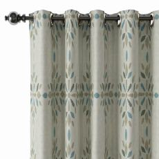 Abstract Print Polyester Linen Curtain Drapery with Privacy Blackout Thermal Lining CINDY