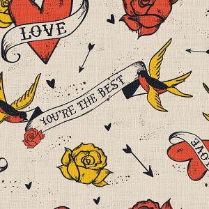 Love Print Polyester Linen Curtain Drapery CHERYL