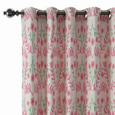Floral Print Polyester Linen Curtain Drapery with Privacy Blackout Thermal Lining CATHY