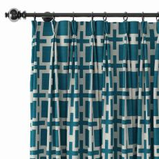 Abstract Print Polyester Linen Curtain Drapery with Privacy Blackout Thermal Lining CHELSEA