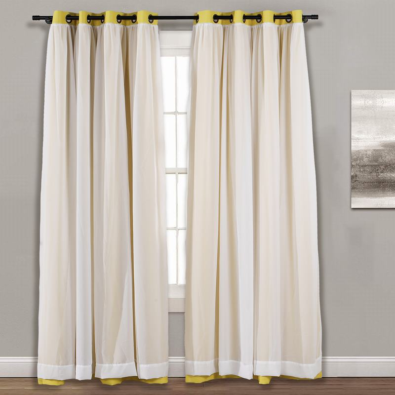 Layered Curtain Mix & Match Elegance White Crushed Voile x Blackout Curtain Grommet Panel ELI