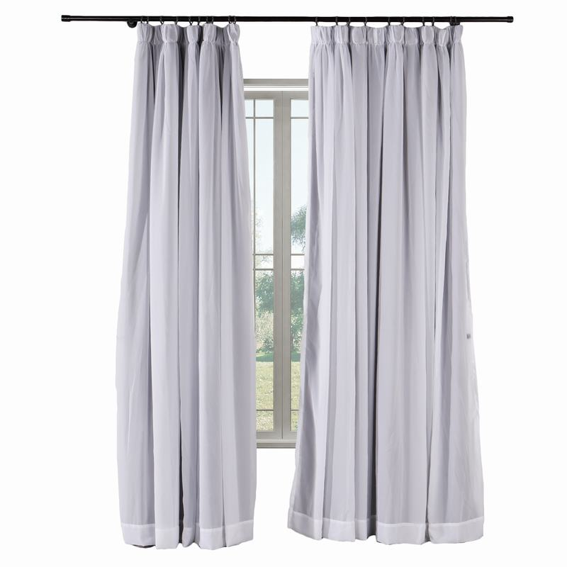 2-in-1 Hanging Hook Belt Back Tab Sheer Blackout Curtain Layered Mix Match White Voile ELI