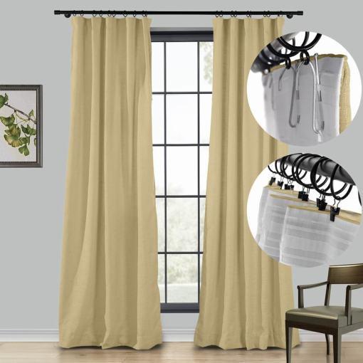 LIZ 4-in-1 Header Type Polyester Faux Linen Curtain Drapery Custom