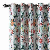 Floral Print Polyester Linen Curtain Drapery JAYDEN