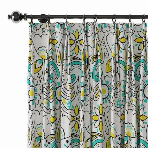 Paisleys Print Polyester Linen Curtain Drapery ATLAS
