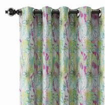 Floral Print Polyester Linen Curtain Drapery MILES