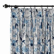 Floral Print Polyester Linen Curtain Drapery WILLIAM