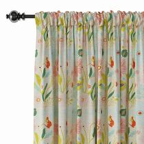 Floral Print Polyester Linen Curtain Drapery LAKIS