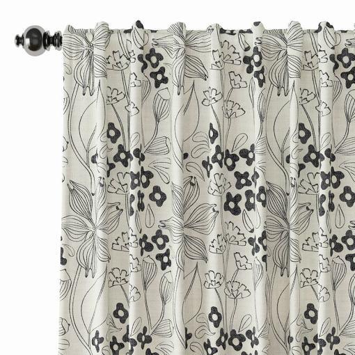 Floral Print Polyester Linen Curtain Drapery BAHAZHA